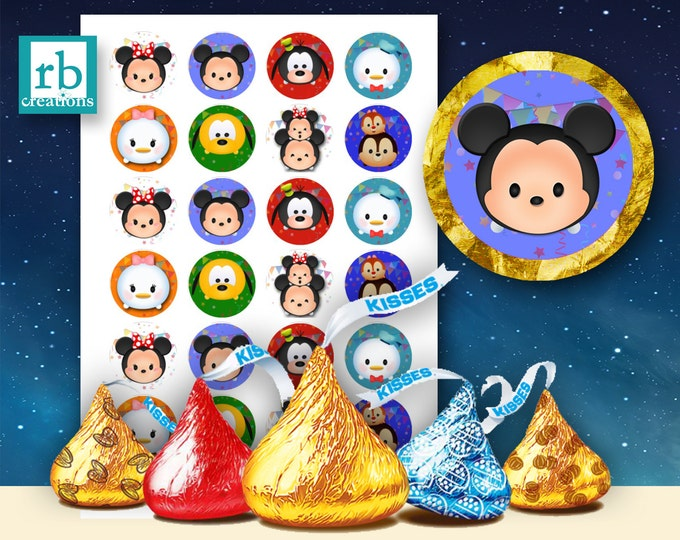 Mickey Mouse Hershey Kiss Sticker Files, Tsum Tsum Party, Tsum Tsum Stickers, Tsum Birthday, Tsum Party Supply - Avery label digital file