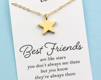 Best Friend Necklace . Gold Star Necklace . Cute Quote . Gift Card . ALSO IN SILVER