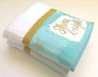 Baby burp cloth, blue, gold, turquoise, baby, personalized gift