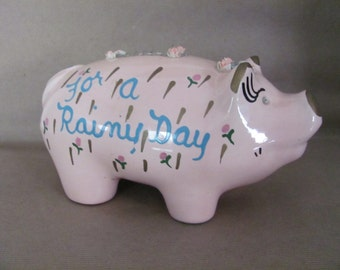 1950s piggy decor etsy - Rhinestone piggy bank ...