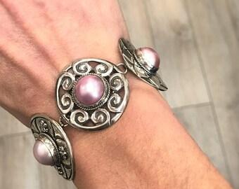 Sterling Silver faux Mabe Pearl Bracelet