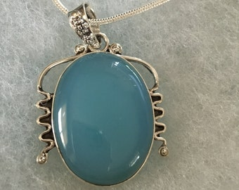 Blue Chalcedony Gemstone Pendant in Sterling Silver Design