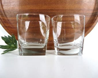 Set of 2 Johnnie Walker Scotch Whisky Glasses, Keep Walking Square Glass Whisky Rocks Barware