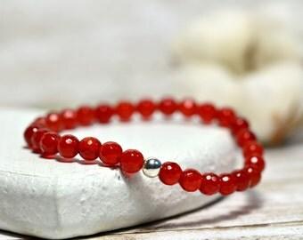 Red Bracelet, Martisor Bracelet, Carnelian Bracelet, Stacking Bracelet, Yoga Bracelet , Silver Bracelet, Stretch Bracelet, Elastic Bracelet
