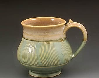 Handmade Pottery Mug Green and Tan  Stoneware by Mark Hudak