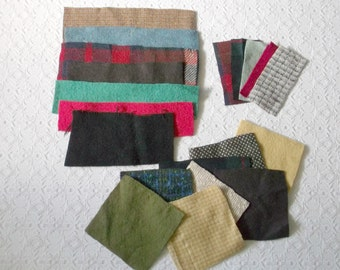 Vintage Wool Blanket Fabric Scraps 20 Pieces for Crafts