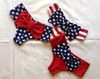 Cheeky Bikini Bow Bottoms Patriotic Flag, Red, White, Blue Stars & Stripes Swimsuit Swim