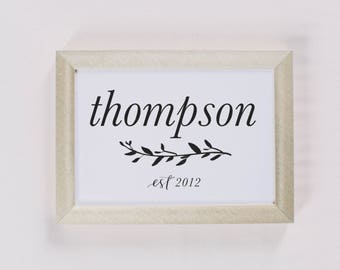 Personalized Calligraphy Print - Last Name With Laurels