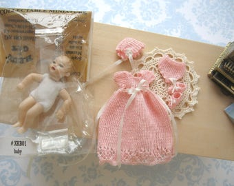 dollhouse baby doll and   knitted dress bonnet pants and booties comes with baby heidi ott doll 12th scale miniature