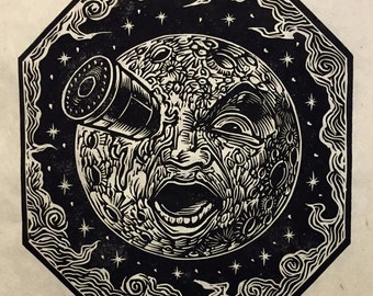 A Trip To The Moon Block Print