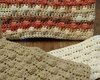 3 Crochet Swiffer covers in Coral, tan, & eggshell white tones, swiffer duster, swiffer mop, reusable Swiffer pad, Swiffer sweeper
