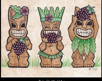 Boysenberry Island, Victorian, Island paradise, Tiki Gods, nom, sweet, tart, berries, boysenberry, Fantasy Polanesian, magic, Rachel Walker