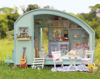 My Stylish Holiday Caravan * Light and music * DIY Handcraft Miniature Project * Wooden Dolls House Kit * Birthday Gift