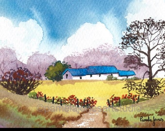 Original Watercolour, Painting, Country Cottage, 9ins x 7ins, Fathers Day, Gift Idea, Art and Collectibles, Home and Living