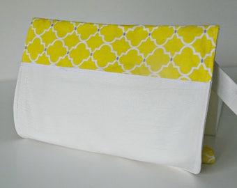Yellow quartrefoil pattern nappy clutch, nappy wallet, diaper wallet, diaper clutch, nappy bag, diaper bag,