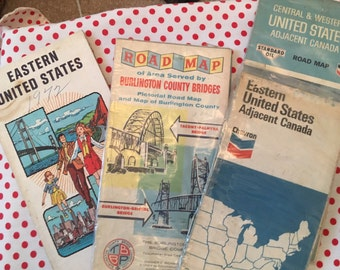 Vintage road maps, vintage maps, state maps