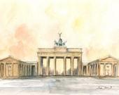 Berlin painting - Brandenburger Tor Cityscape - Brandenburg Gate Capital Europe - Berlin art - Watercolor painting & Prints by Juan Bosco