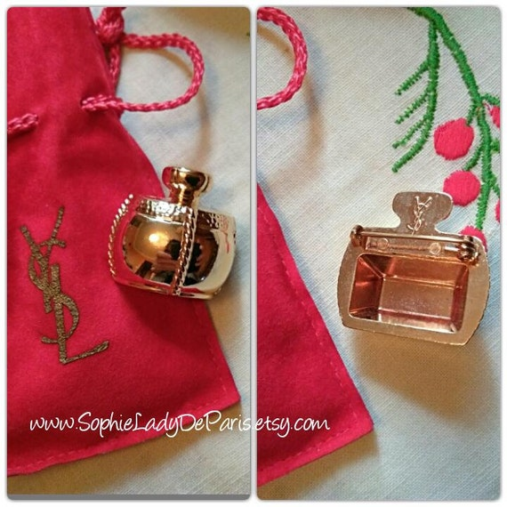 Yves Saint Laurent Pin Gold Champagne Perfume Brooch with Red YSL Pouch #sophieladydeparis