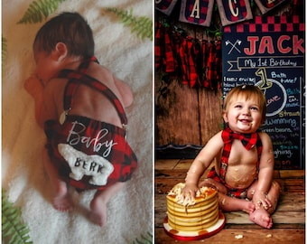 New Born Photo Shoot /Cake Smash/Buffalo Plaid / Lumberjack / Baby Boys /Appliqué Bear/ Baby Bear/ Photo Shoot/ Cake Smash/ hat not included