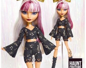 "Monster Doll Haunt Couture: ""Golden Beats"" mini dress high fashion dress clothes"
