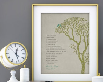 Personalized Wedding Tree Anniversary Gift Print, 1 Corinthians 13 Love is Patient Bible Verse personalized with NAMES 8 x 10