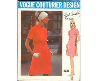 Vogue Couturier Design 2336 ca. 1970 Sybil Connolly of Dublin - Misses' One-Piece Dress Bust 38""