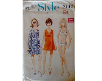 "UNCUT Style #2140 Vintage 60's Swimsuit Beach Robe Cover Up in Two Lengths and Bikini Sewing Pattern Size Bust 34"" UK 12"