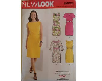 UNCUT New Look K6023 Sheath dress Sleeveless Cap Short Sleeve and Long Sleeve Options Sewing pattern 6 Sizes UK 6 8 10 12 14 16