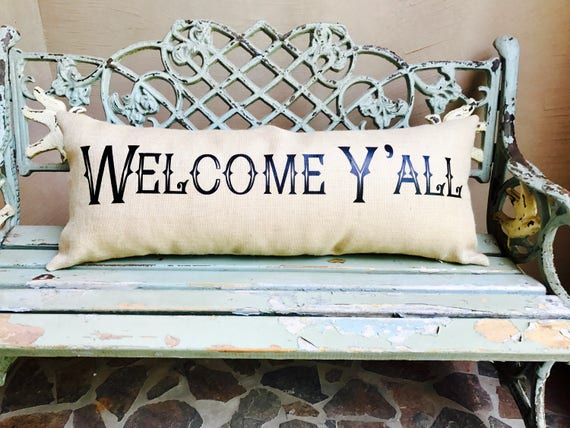 Oversized WELCOME Y'ALL --bench pillow -Extra long lumbar burlap pillow for the front porch