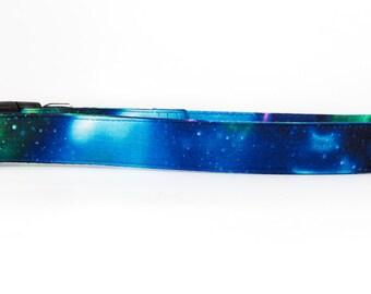 Galaxy collar, Space dog collar, Northern Lights, Green dog collar, nature lover gift, boy dog collar, blue dog collar, metal buckle