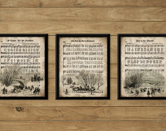 Vintage Christmas Carol Prints, Set of 3, INSTANT DOWNLOAD, Sheet Music Hymn, Wall Decor, Aged Antique Grunge, Printable Art