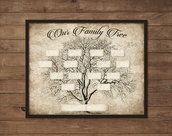 Vintage Family Tree Print Template - Instant Download - Printable, Wall Art, Ancestry, DIY Gift, 4 Generations, Blank