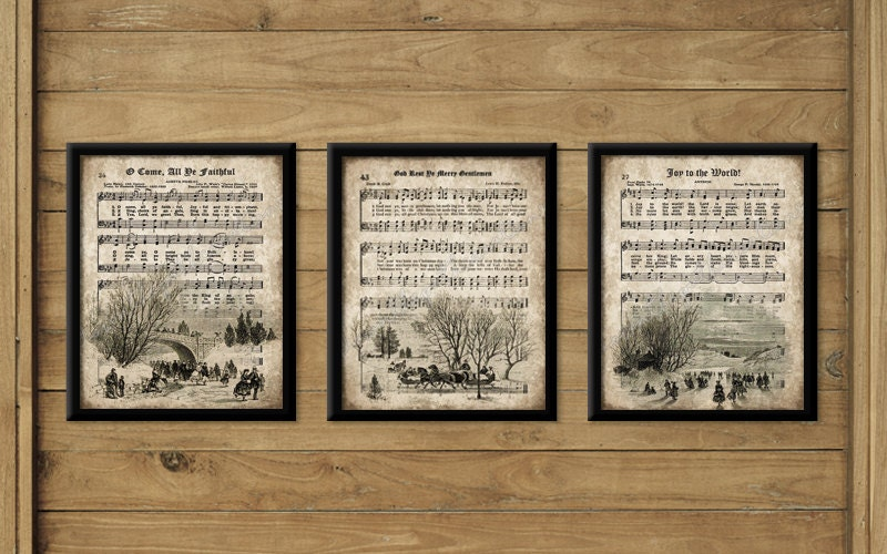 Wall Art Prints Download : Vintage christmas carol prints set of instant download