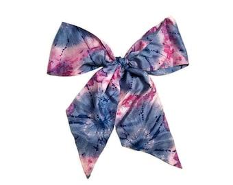 Psychedelic Scarf Tie Dye Multi Color 70's Seventies Purple Pink Blue Long Skinny Tie Necktie Sash Belt