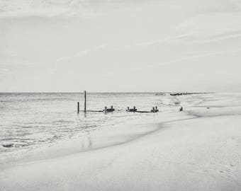 Broken Black and White Fine Art Photography, New Jersey Photo, Cape May NJ, Jersey Shore, Beach Print, East Coast Ocean, Nautical Coastal