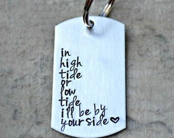 High Tide or Low Tide- Hand Stamped Keychain OR Necklace- SPECIAL PRICE