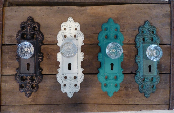 How To Change A Door Knob >> Decorative Vintage Style Cast Iron Door Plate with Glass Knob