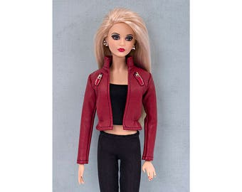 Red faux-leather jacket for Barbie and Poppy Parker