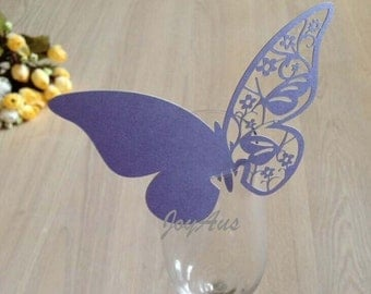 50x Lilac Butterfly Name Place Card | Wine Glass Flute Wedding & Party Reception Ceremony Banquet Function Table Centerpiece Decoration