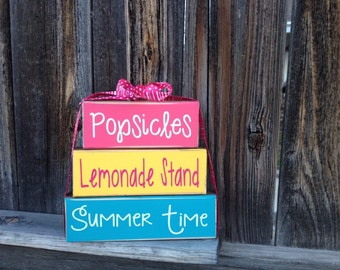 Summer wood stacker blocks--Popsicles, Lemonade, Summer Time