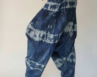 TD0008 Indigo Harem pants  Handmade pants, Thick Smock Waist Low Crotch, Women Yoga Harem Pants  - elastic waistband and cuffs - Fits all !