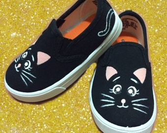 Kitty Cat Shoes Kids Shoes. Black Cat Shoes.