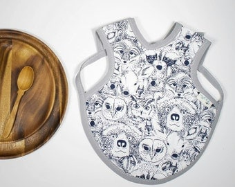 Forest Friends Bapron, Full Coverage Bib, Art Smock, Baby Toddler Apron Bib, Menagerie Onyx, Indian Summer, Forest Animals, Woodland