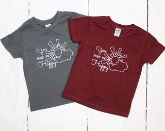 You Make Me Happy Kids Tee Shirt, Sunshine T Shirt, Baby and Kids Tees, You are my Sunshine, Cloud and Sun Shirt, When skies are gray