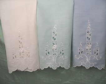 Three complementary pastel linen hand towels /embroidered guest hand towel