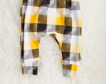 yellow white black plaid harem pants by little lapsi. ready to ship