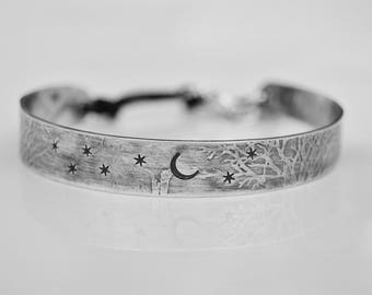 Sterling Bangle. Under The Stars . Hand Stamped . Sterling Silver . Leather .  Cold Connections . Rustic . Earthy . Boho .