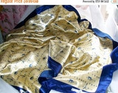Vintage scarf - J.Mico Sancho- Paris France -polyester -34 x 34 - scarf -blue and gold   -  womens accessories - women's scarves