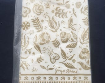 "GEORGE BRIARD NAPKINS unopened package 15 Persian paper Guest towels gold white 16.75"" x 12"" Pb-43"