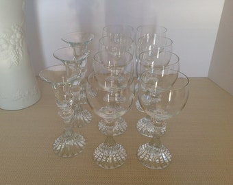 Set of Eight Mikasa Wine Glasses with Two Matching Candle Holders in The Ritz Pattern
